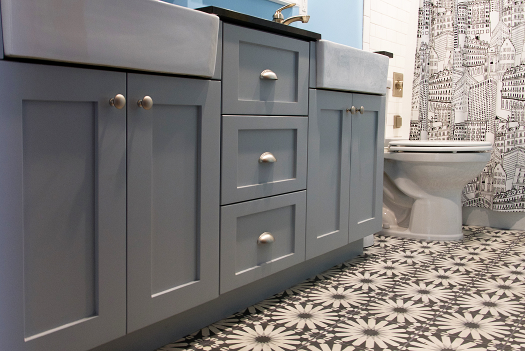 Grey Custom Bath Vanity with Geometric Tile