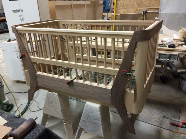 Modern Walnut Convertible Crib - Ready for Painting! Photos coming June 2017