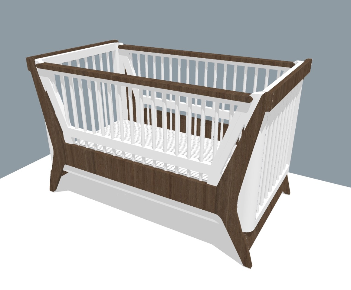 """Modern Crib with Convertible Side, Eco Friendly """"Food Safe"""" Finish"""
