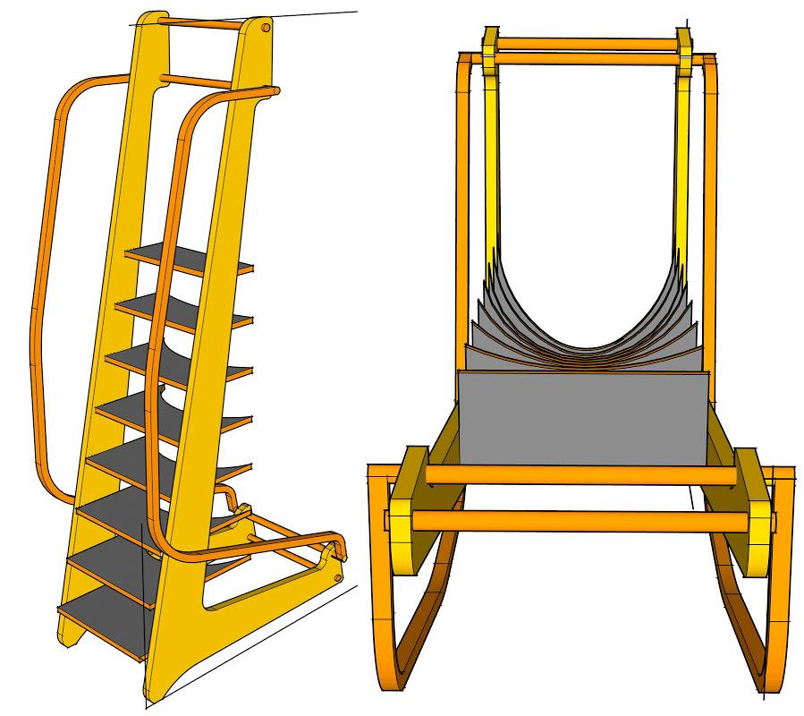 Design Rending Illustrating Graduating Arc of Ladder Steps