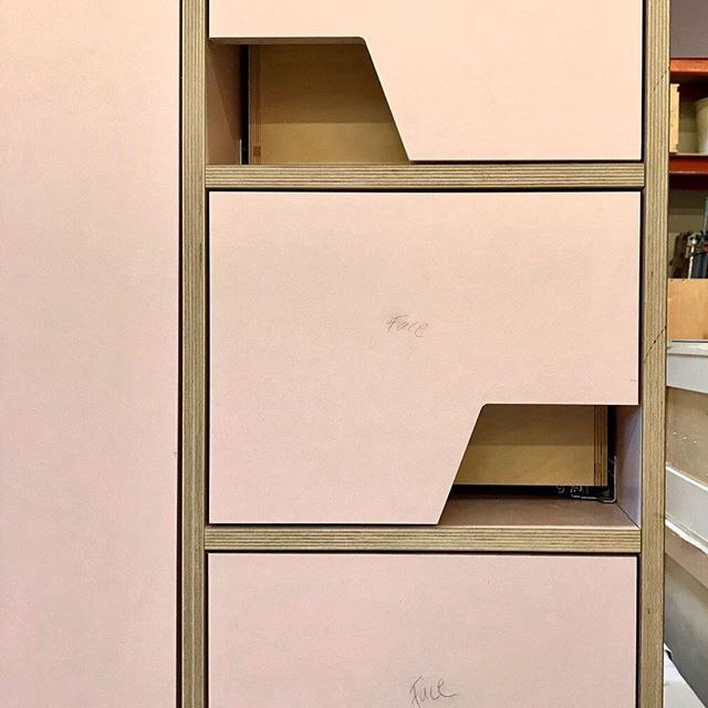 Detail, (pink!) custom Kitchen cabinetry + loft in progress. So fun to see this design come to life in our woodshop.  #builtbyhand #ableandbaker #letsbuild #customkitchen #californialiving #design #kitchendesign #moderndesign #modernkitchen #pink #pinkkitchen #fineinteriors #wood #plywood #customfurniture