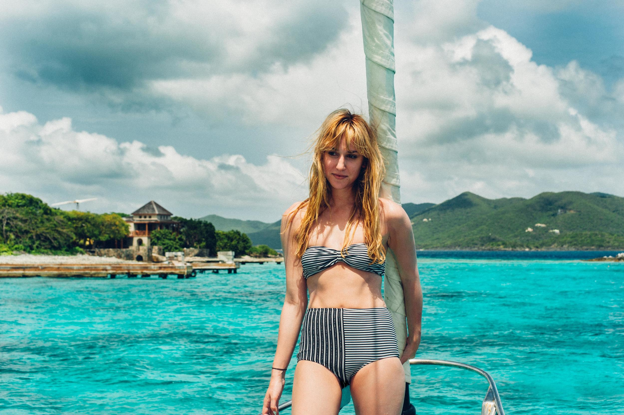 Alexis in the  striped butterfly bandeau  and  high waist striped short .
