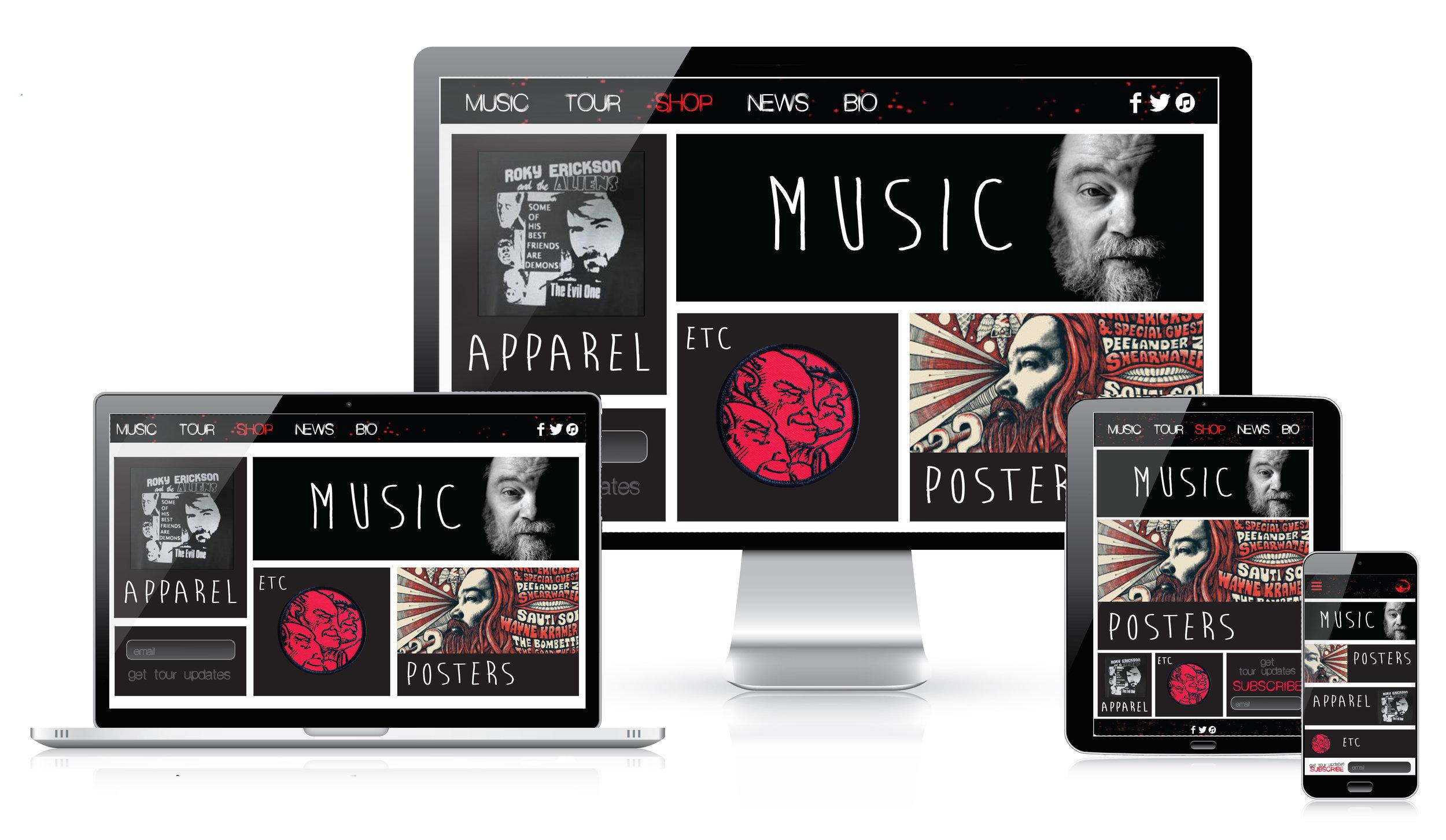 Responsive design musician's site initial design comps