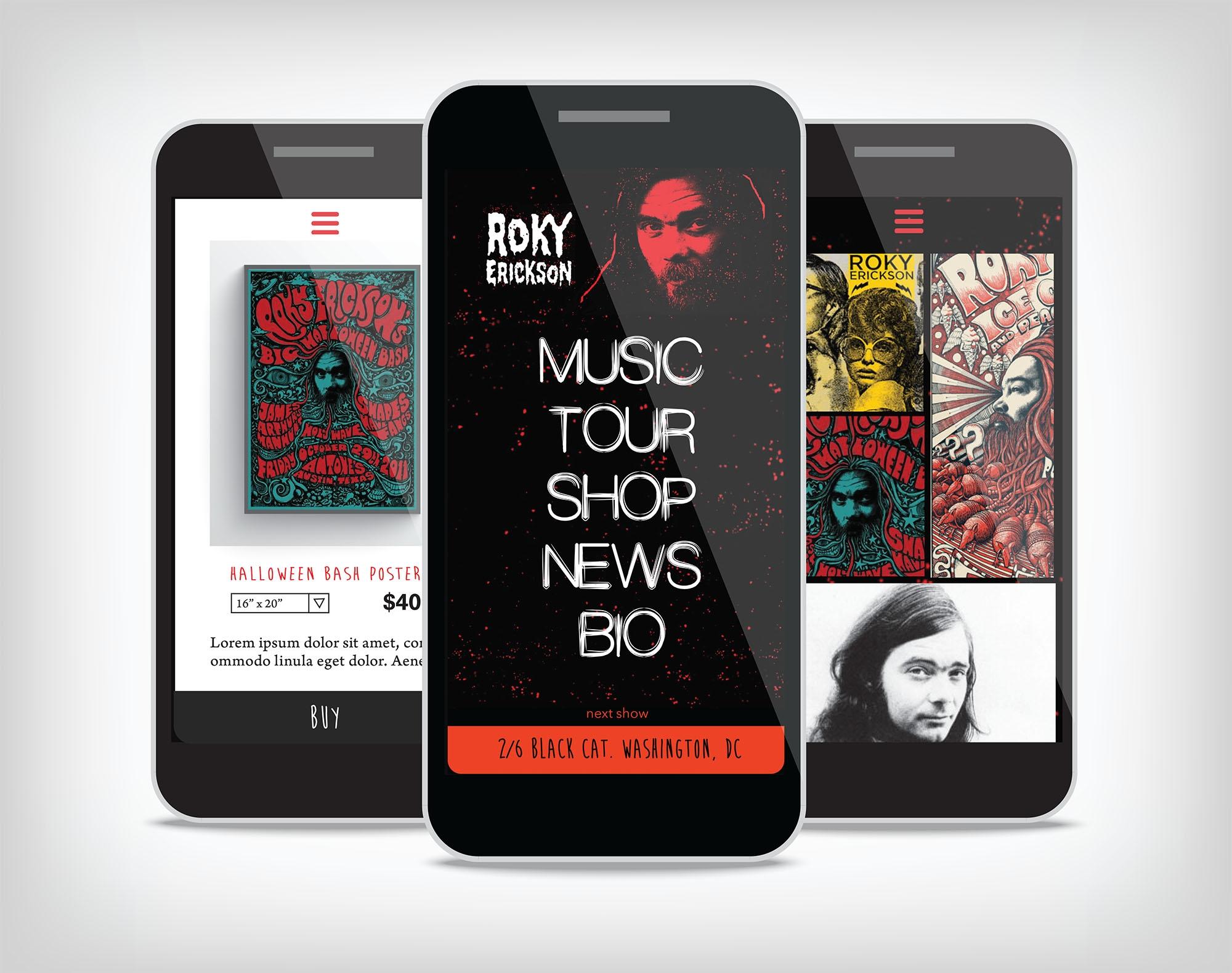 Mobile design for musician's site