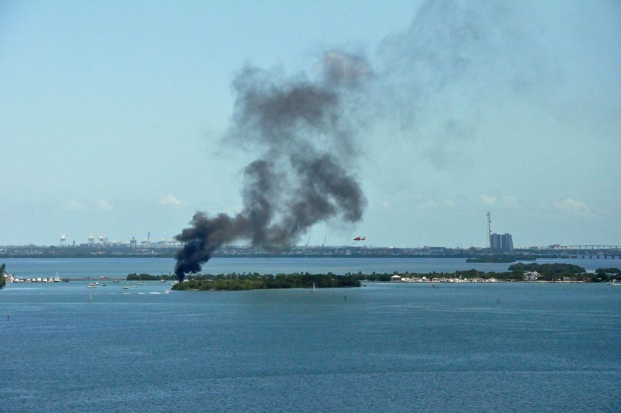 A view of the boat on fire from North Miami