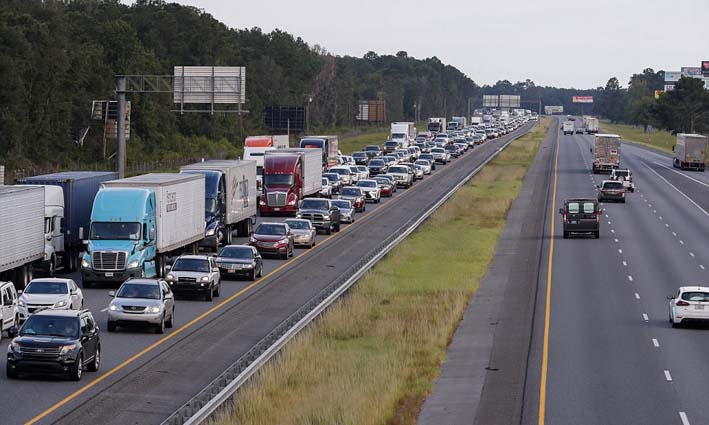The highway clogged northbound - credit ABC