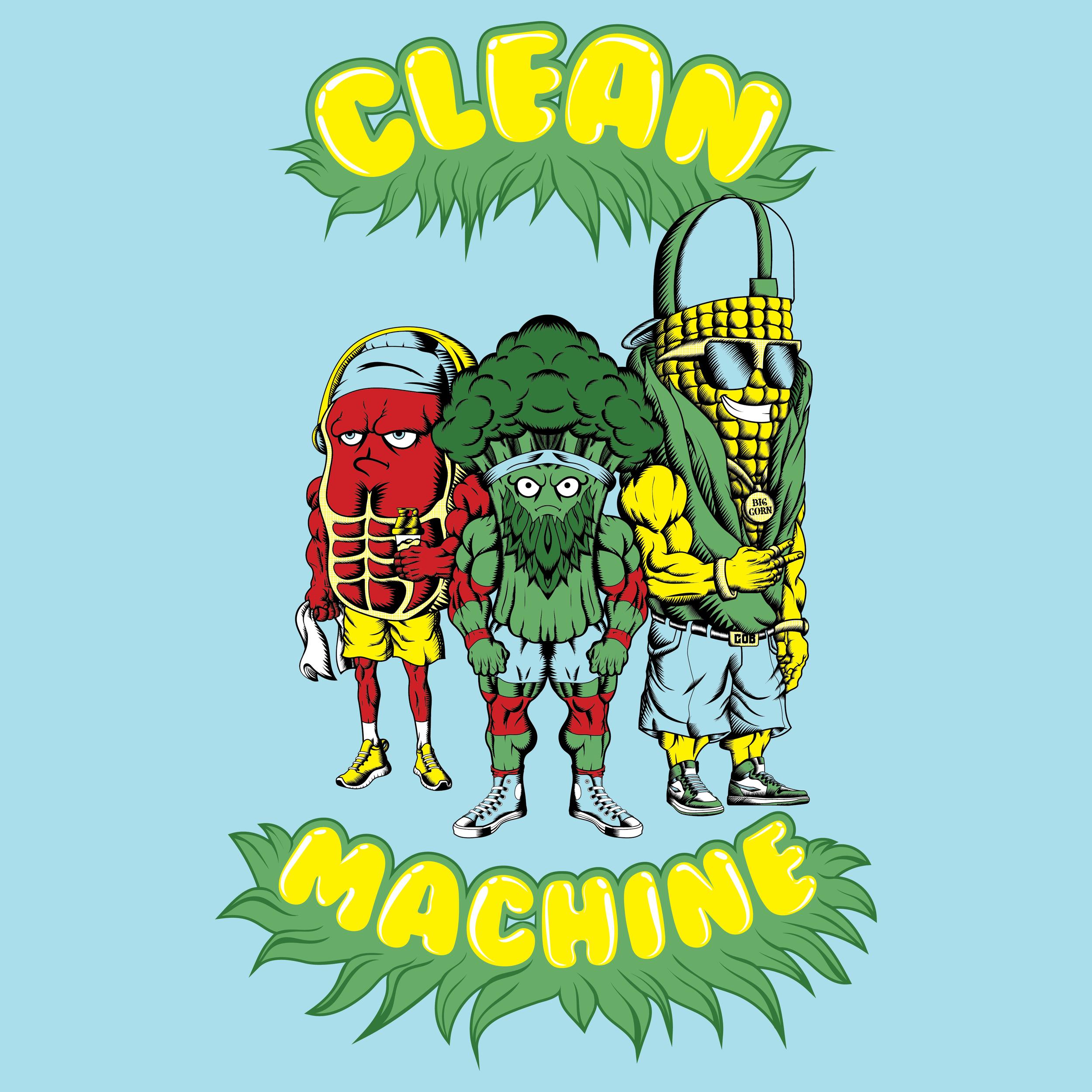 cleanmachine-clean-machine-raskol-apparel-omar-isuf-roberto-artist-orozco-design-studio-steak-broccoli-corn-gym-bros-blue-red-yellow-illustration-illustrator-vector-digital-image.jpg