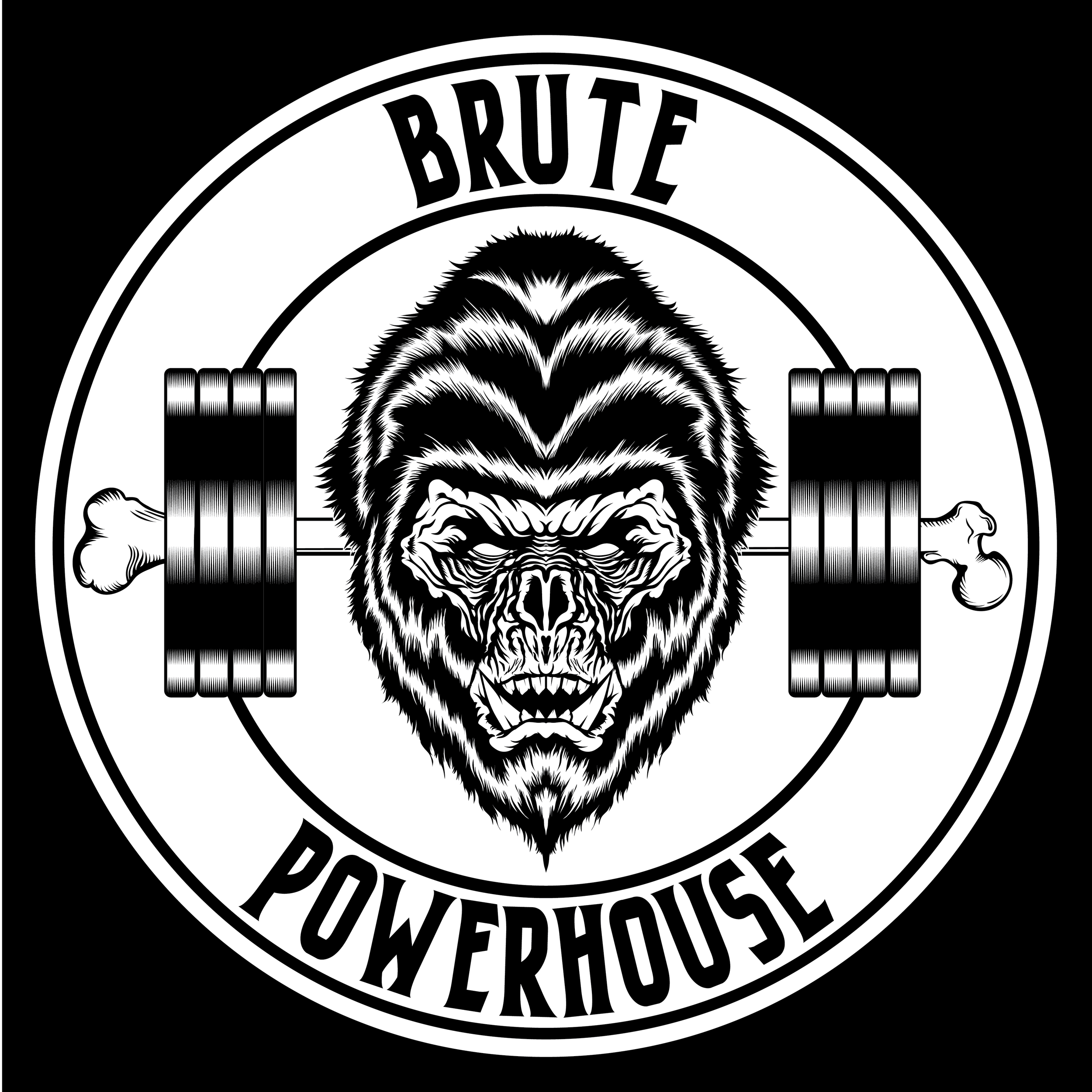 brute-powerhouse-illustration-logo-adobe-illustrator-vector-art-artist-gorilla-monster-ape-savage-gym-crossfit-powerlifting-roberto-orozco-design-graphic-designer-black-white-circle-logos-1