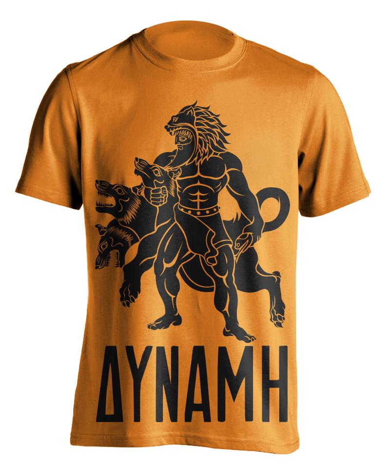 hercules-greek-mythology-mythos-cerberus-beast-12-labors-strength-illustration-adobe-illustrator-raskol-apparel-tshirt-design-roberto-orozco-orozcodesign-art-artist-roberto-artist-orange-shirt