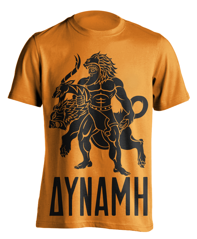 hercules-greek-mythology-mythos-cerberus-beast-12-labors-strength-illustration-adobe-illustrator-raskol-apparel-tshirt-design-roberto-orozco-orozcodesign-art-artist-roberto-artist-chimera-orange-shirt