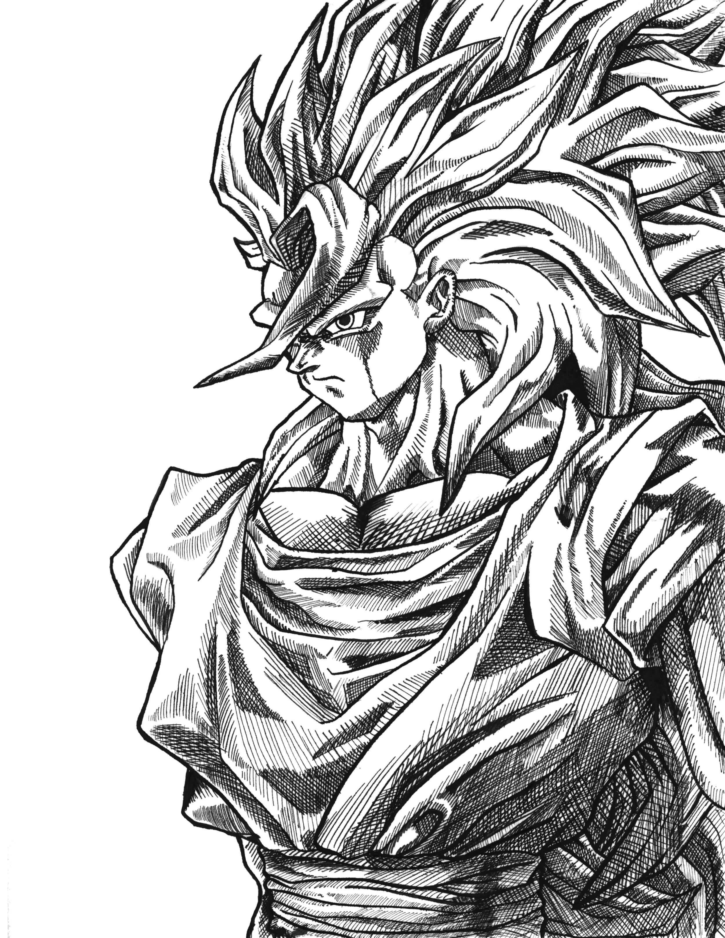 Orozco Design Store Dragon Ball Z Goku Ssj3 Ink Print Limited Run
