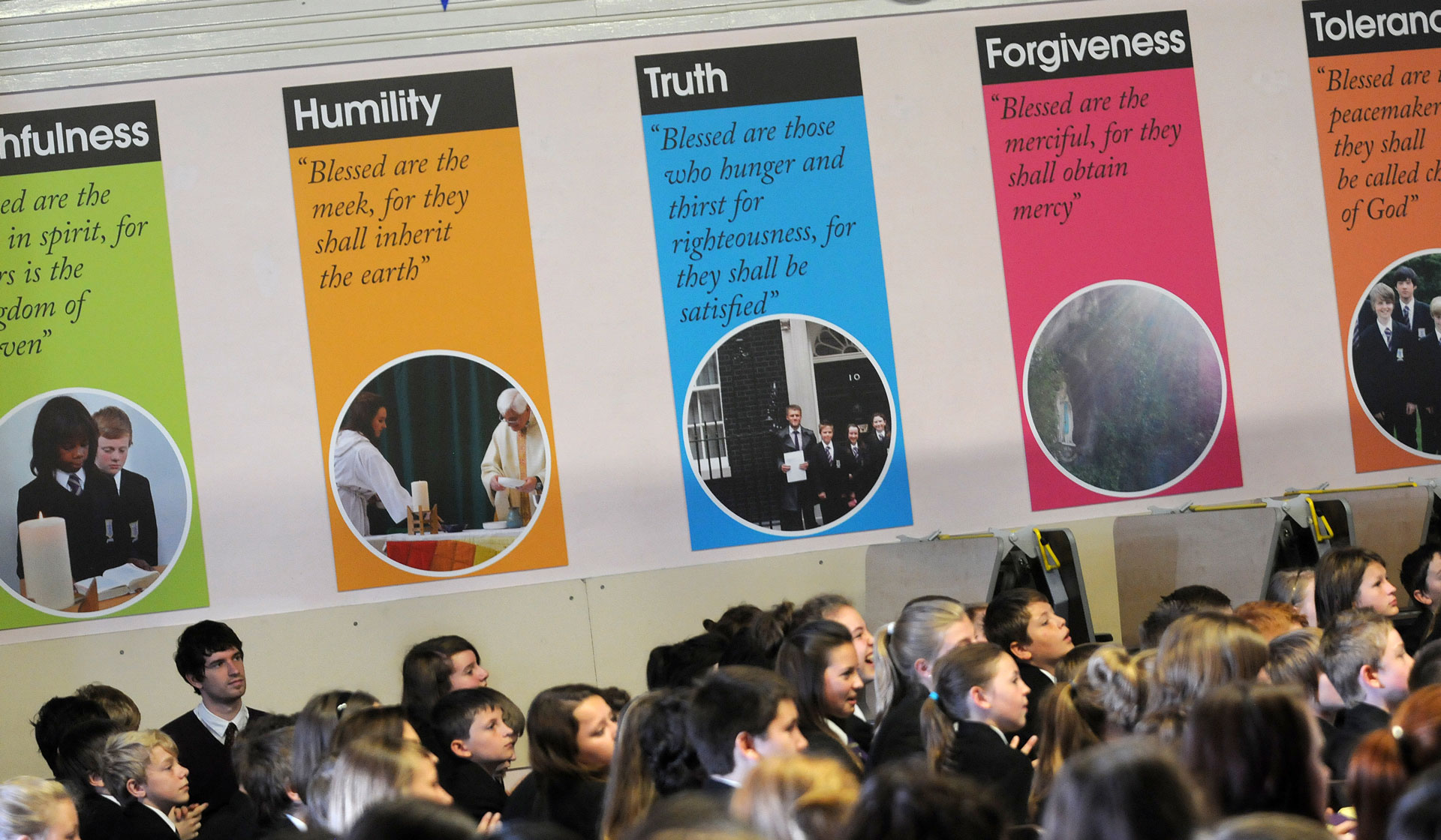 The displays around school are a constant reminder of the St. Mary's Values