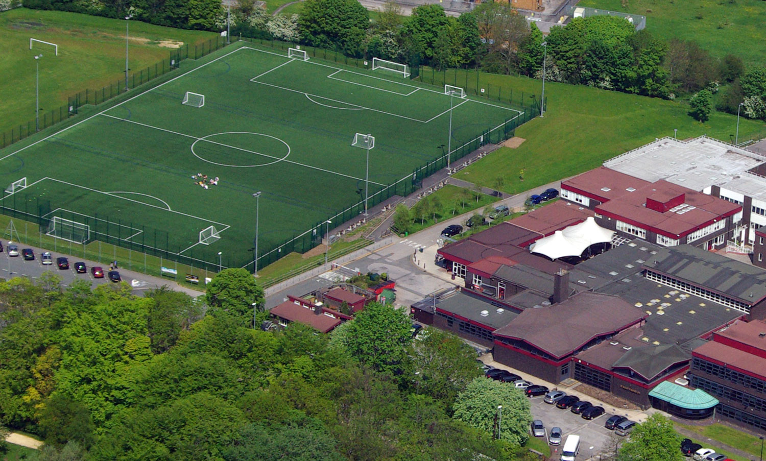 Aerial photo of St. Mary's school site showing Artificial Turf Pitch