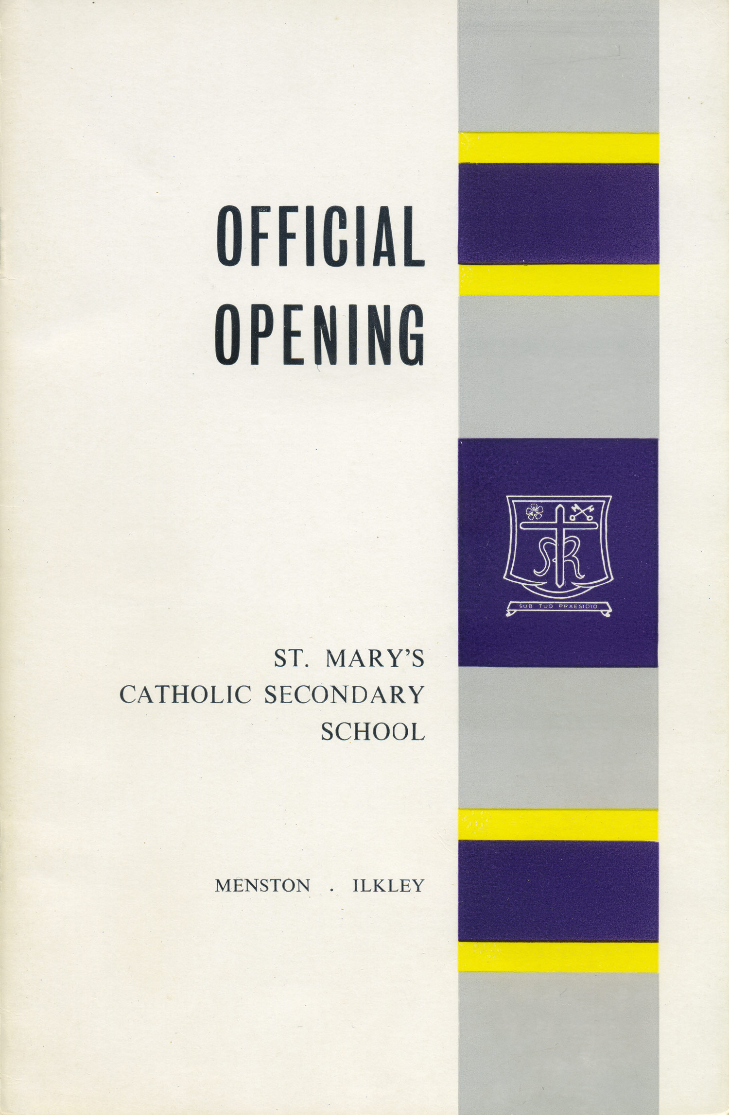 Our school crest at the official opening of St. Mary's Menston, 3 July 1964