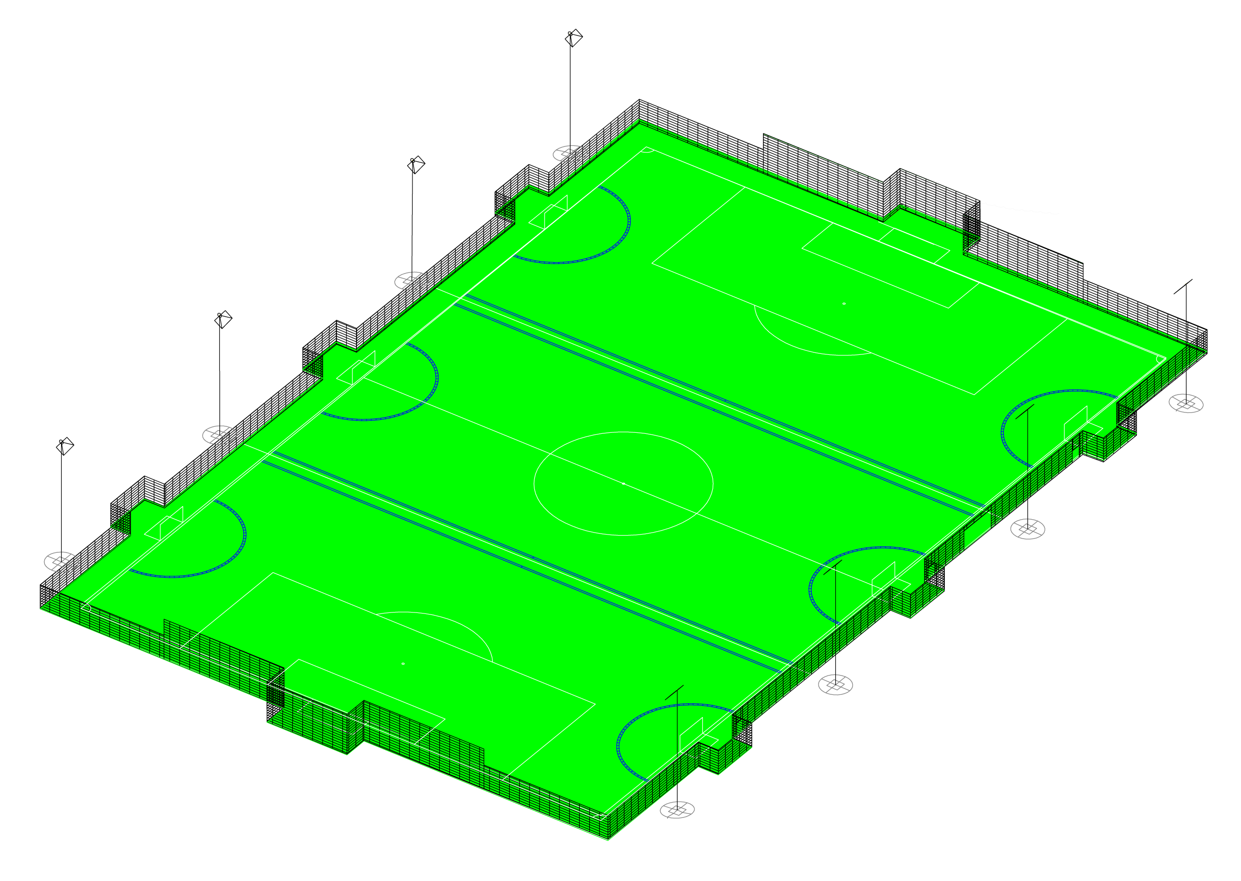 Isometric plan of our Artificial Turf Pitch, showing the markings for three horizontal pitches