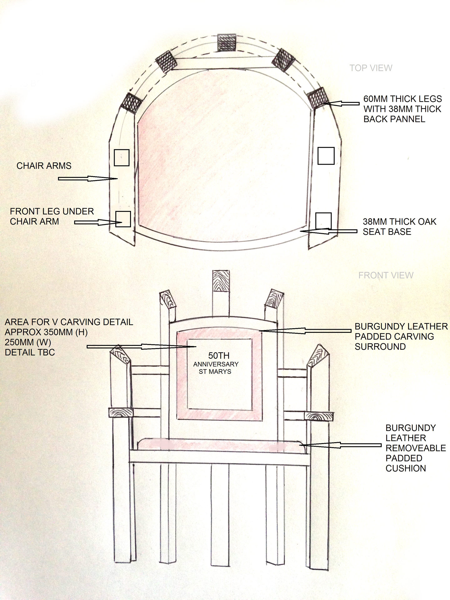 Sketch showingthe design of the Presidential chair