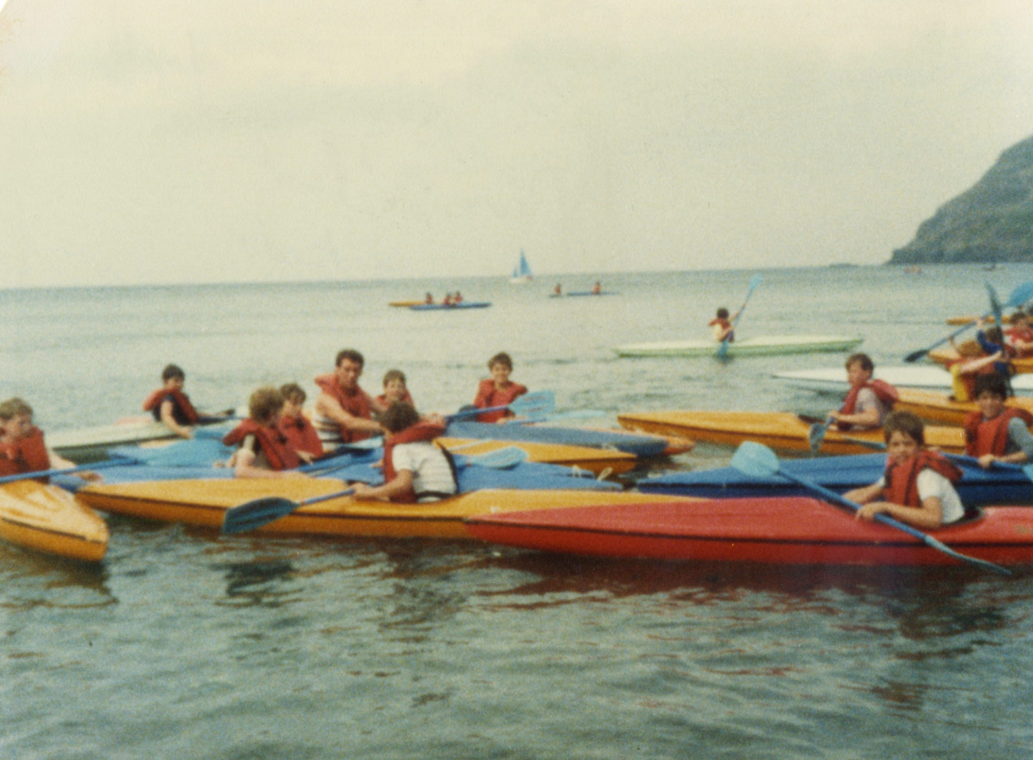 THE 1980s: Isle of Man PE Trip, Mr Geldart with pupils, July 1983