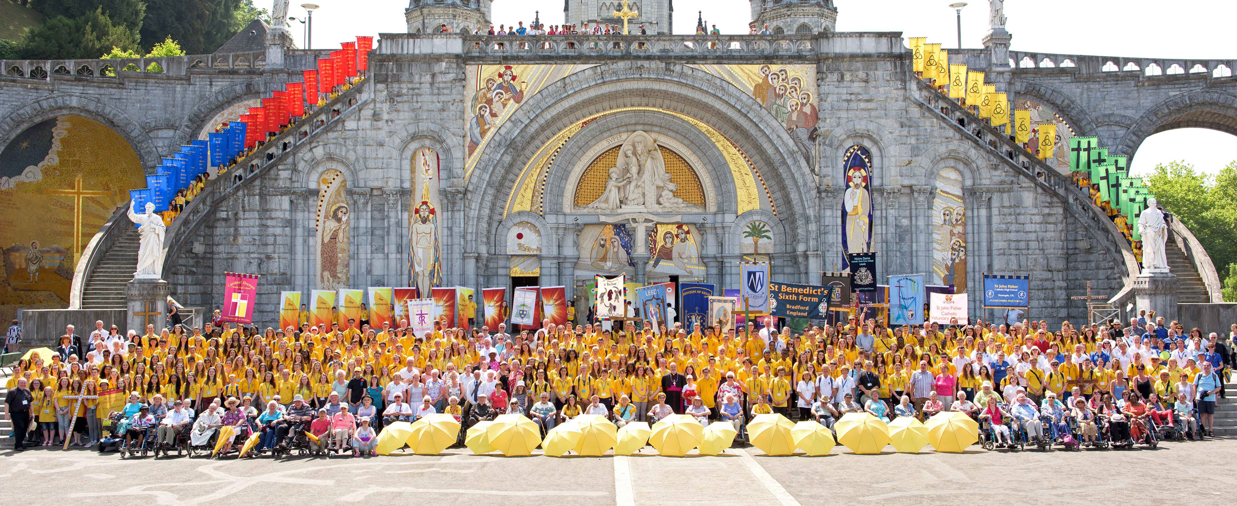 Photo: Group photo of Leeds Diocese Lourdes 2015. Can you spot the St. Mary's banner?