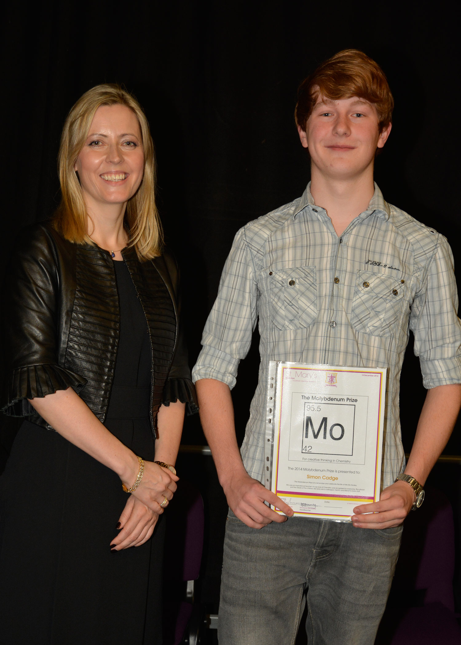 Photo: Former St. Mary's Menston pupil Joanne Milner, CEO of Debretts with Simon Cadge, Year 13 Presentation Evening, 18 December 2014