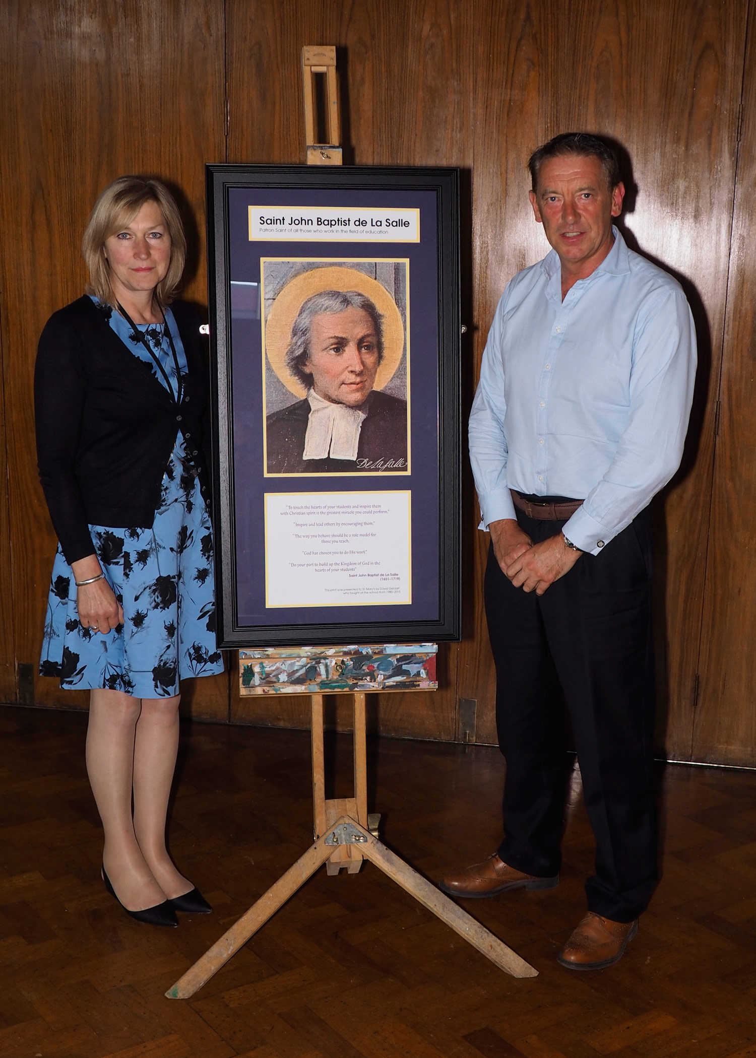 Photo: Mrs Findlay and Mr Geldart together with the gift (which has been permanently displayed in our Main corridor.