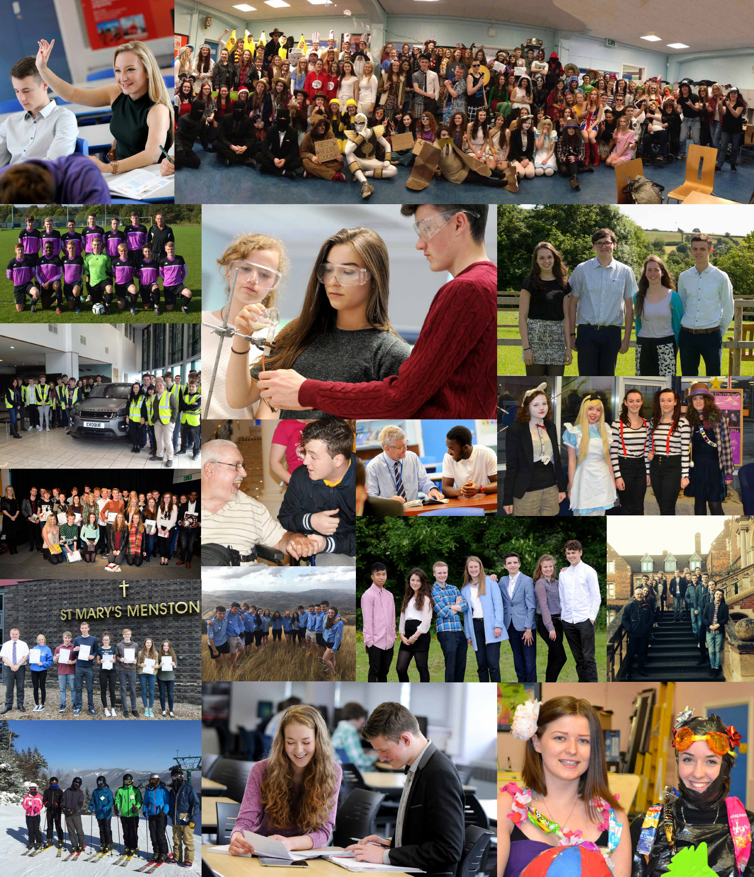 Collage showing the Sixth Form at St. Mary's Menston
