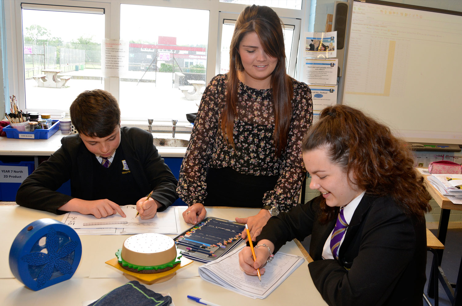 Design Technology lesson, trainee teacher at St. Mary's