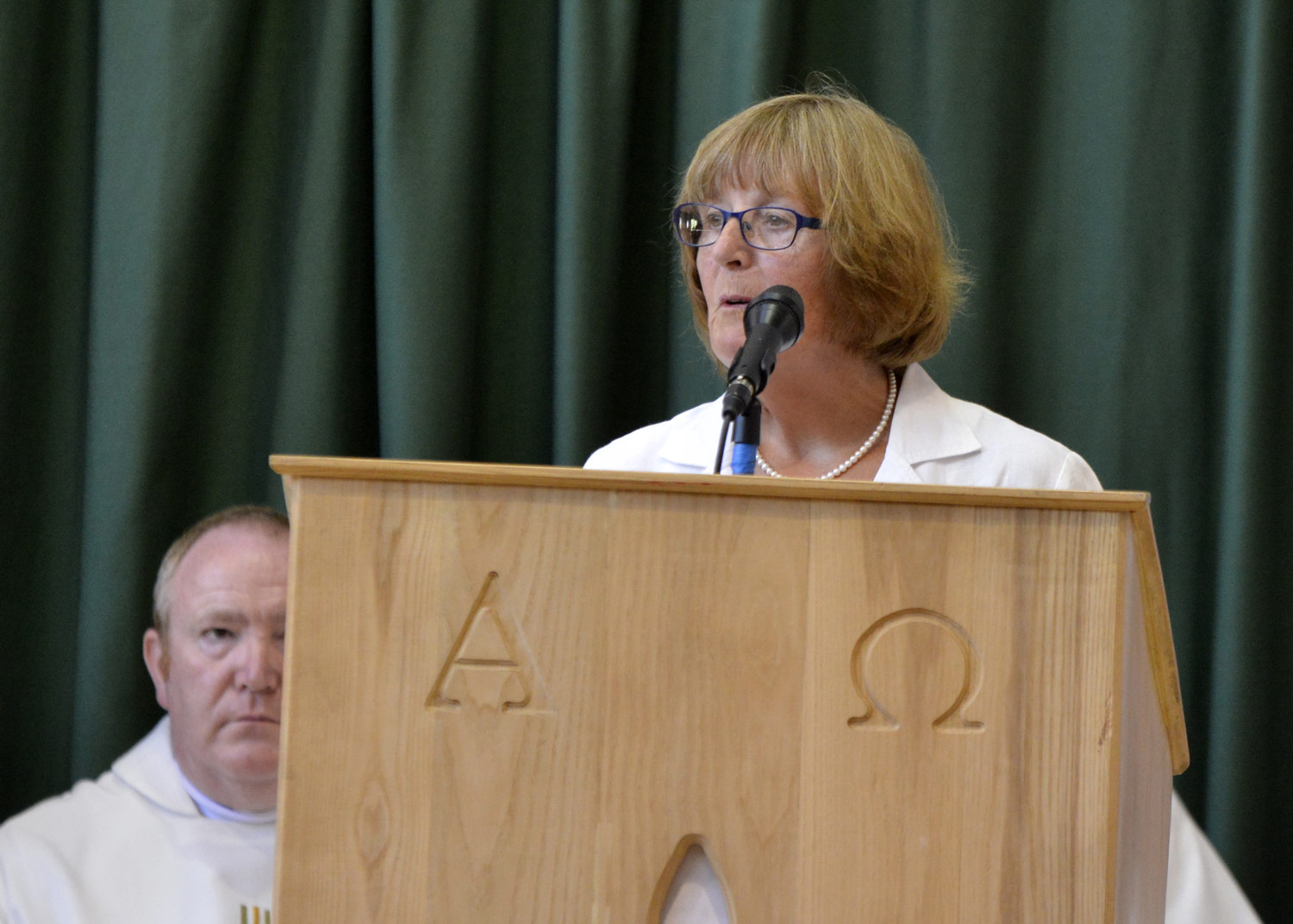 Photo: Mrs Sayers giving the speech during our 50th Anniversary Mass, 30 June 2015