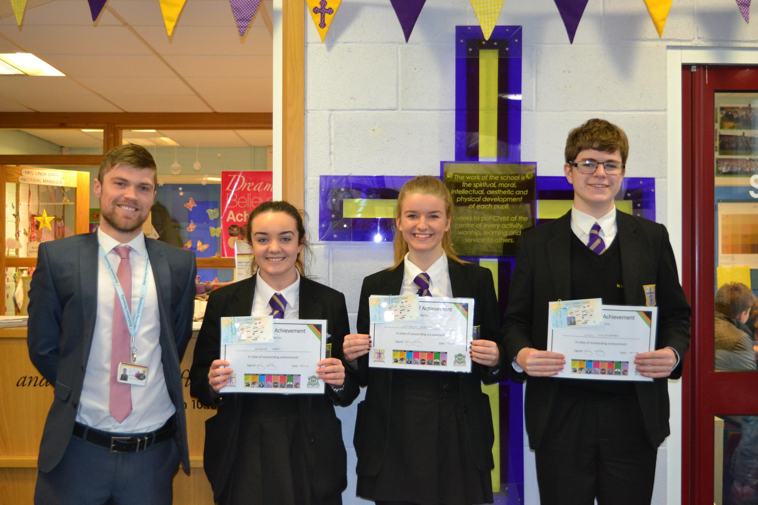 Rhianne Shaw 10M, William Inglehearn 10M and Kathryn Bradley 10W, were presented with Achievement Awards