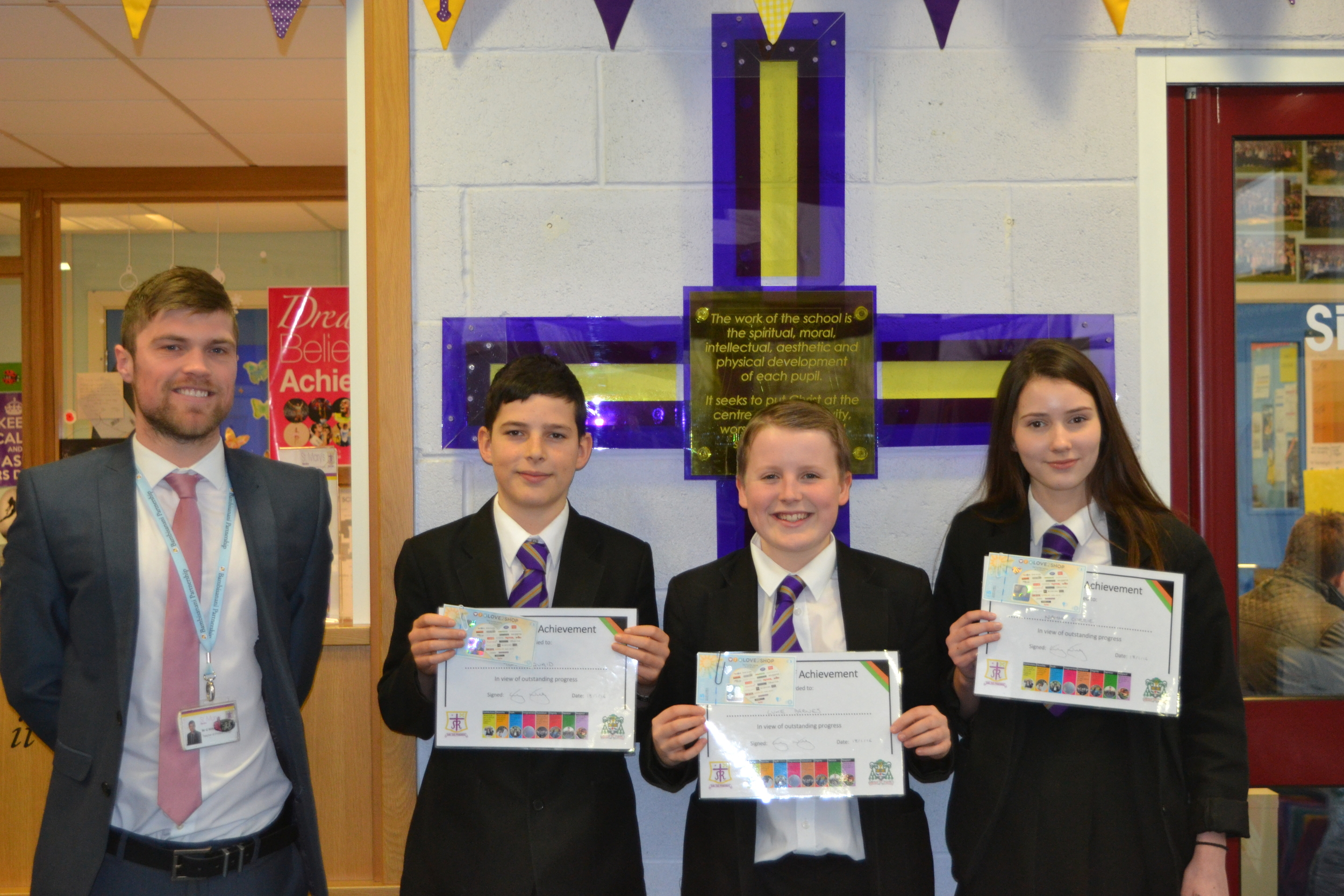 Luke Barnes 10F, Tom McQuaid 10D and Niamh Currie 10C were presented with the Award for Progress from Year 9 to Year 10.