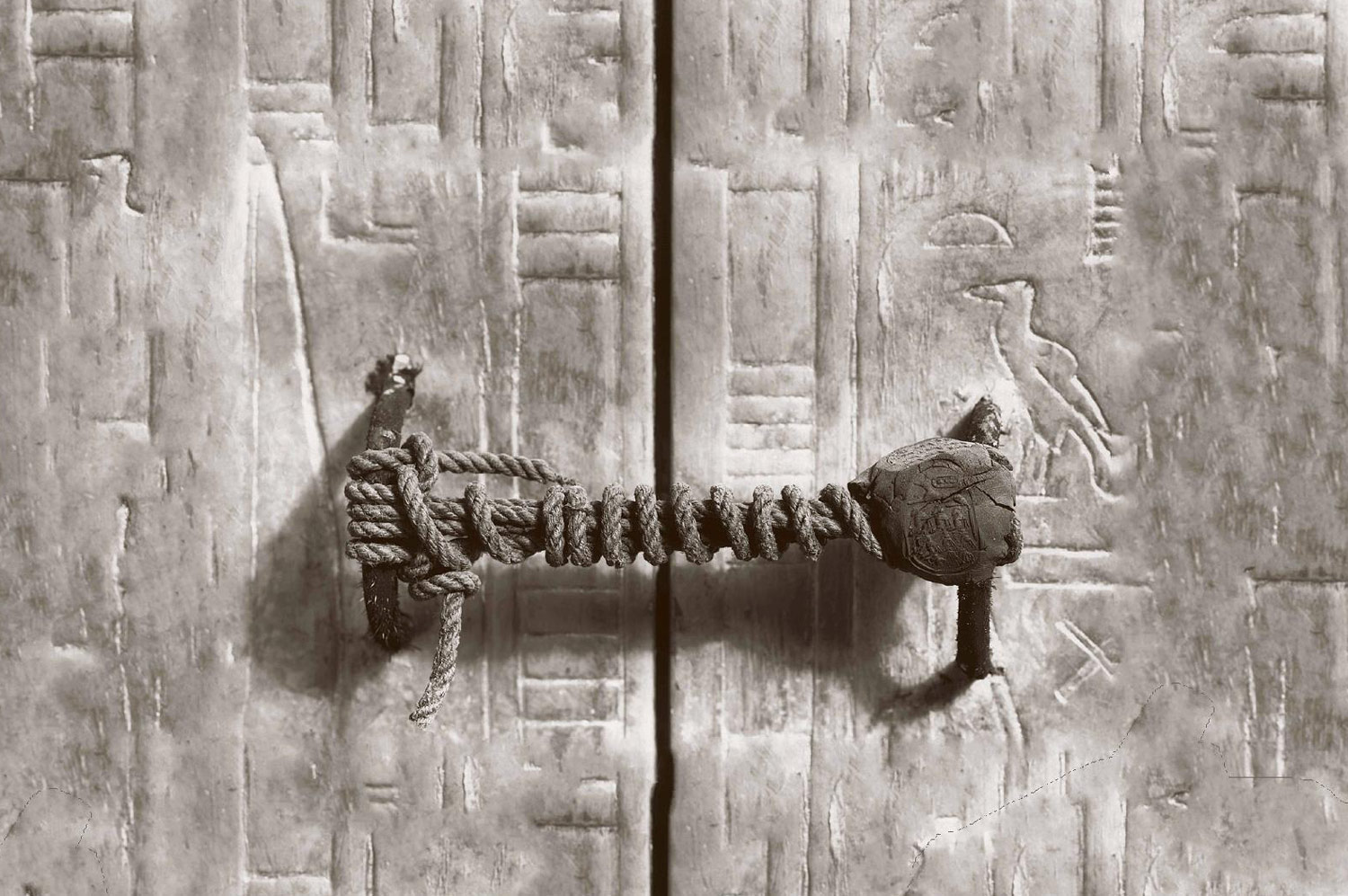 Photo: The unbroken seal on Tutankhamun's tomb, 1922. The tomb had remained hidden for over 3,000 years.