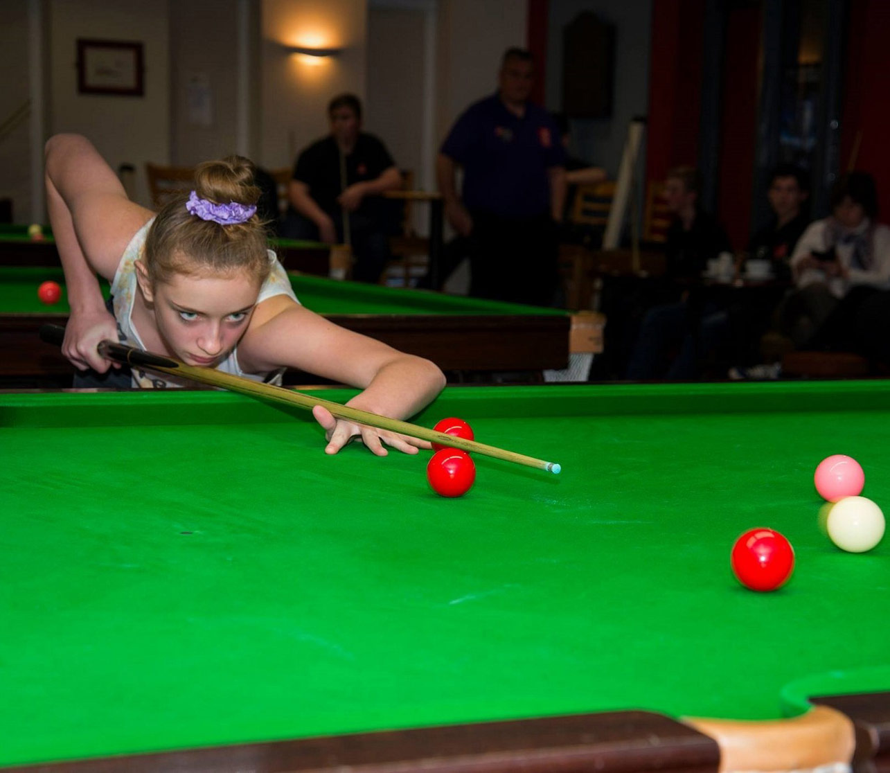Photo: Aimee at the snooker table