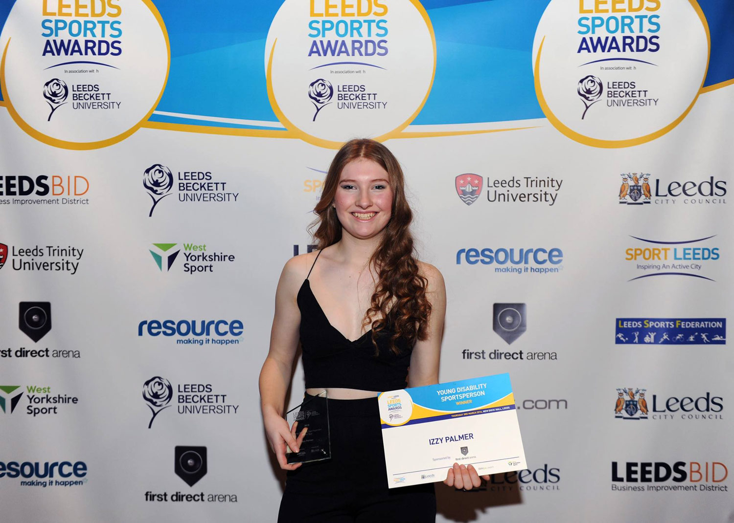Photo: Izzy with her Leeds Sport Award. Photo from Yorkshire Evening Post Facebook page. ©All Rights Reserved.