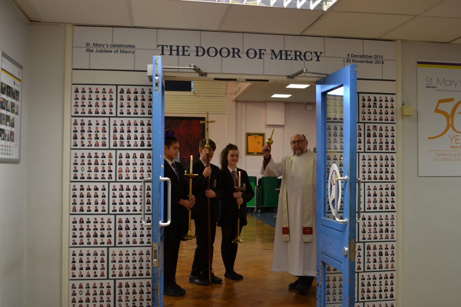 Photo:On Thursday 11 February 2016, during Year 8 Mass, Canon Lawrie Hulme blessed our Door of Mercy