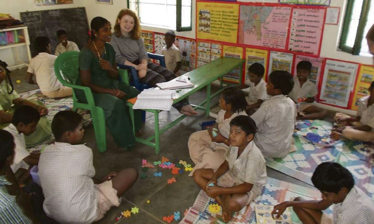 Photo: Mary Crotty (former St. Mary's Menston pupil) volunteering with the Sylvia Wright Trust in India.  Read her report