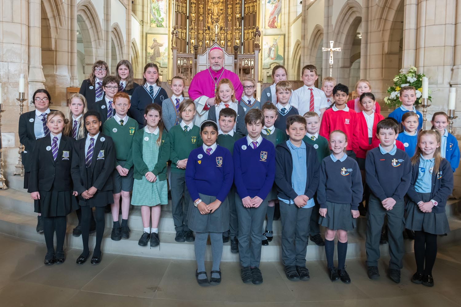 Photo: The ten schools in the Bishop Wheeler Catholic Academy Trust took a commemorative photo together with Bishop Marcus