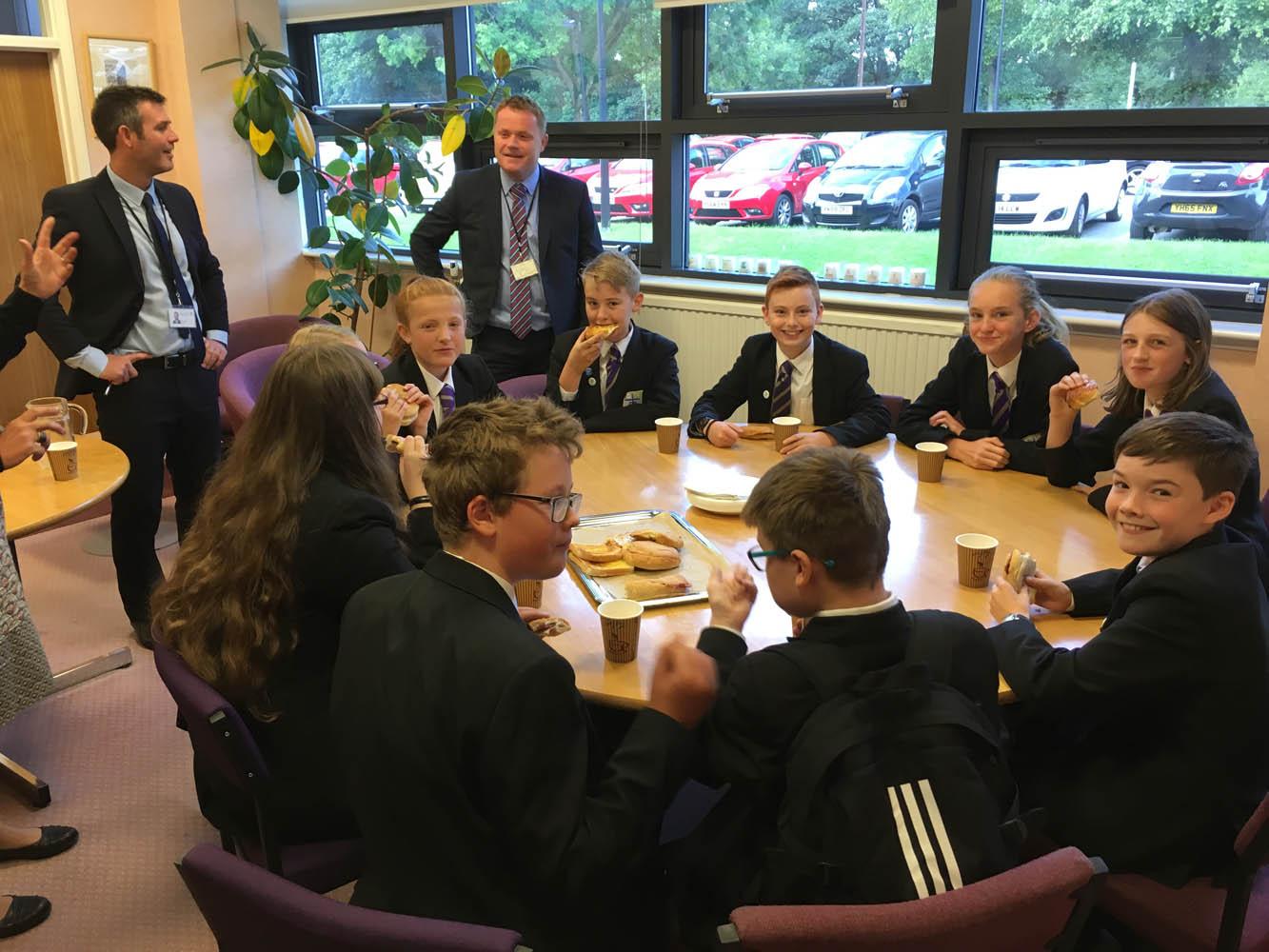 Enjoying 'The Big Breakfast' in Mr Beardsley's office
