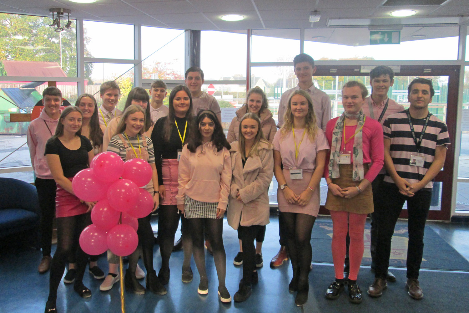 Photo: Sixth form Students wearing pink and living out the St. Mary's values on Pink Day, Friday October 19, 2018