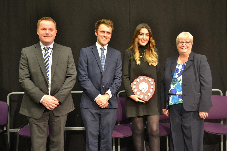 L-R Darren Beardsley (Headteacher), Patrick Kirkham, Carys Crow, Mrs Carole Dawson
