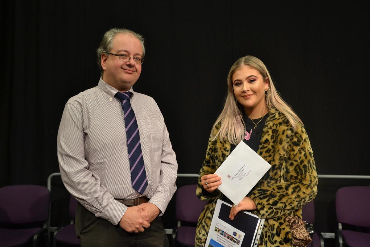 Rosie Egan receiving Otley Lions Achievement Award