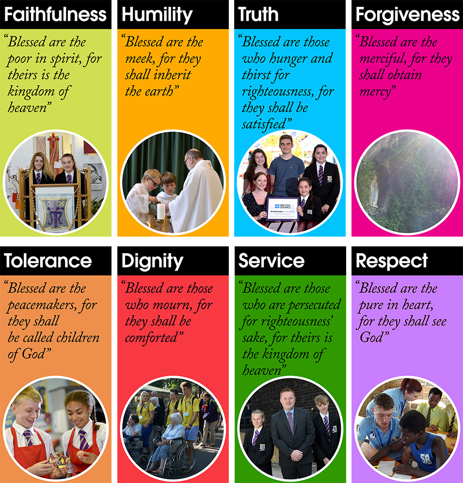 Our Values in two rows of 4 (with the Beatitudes)
