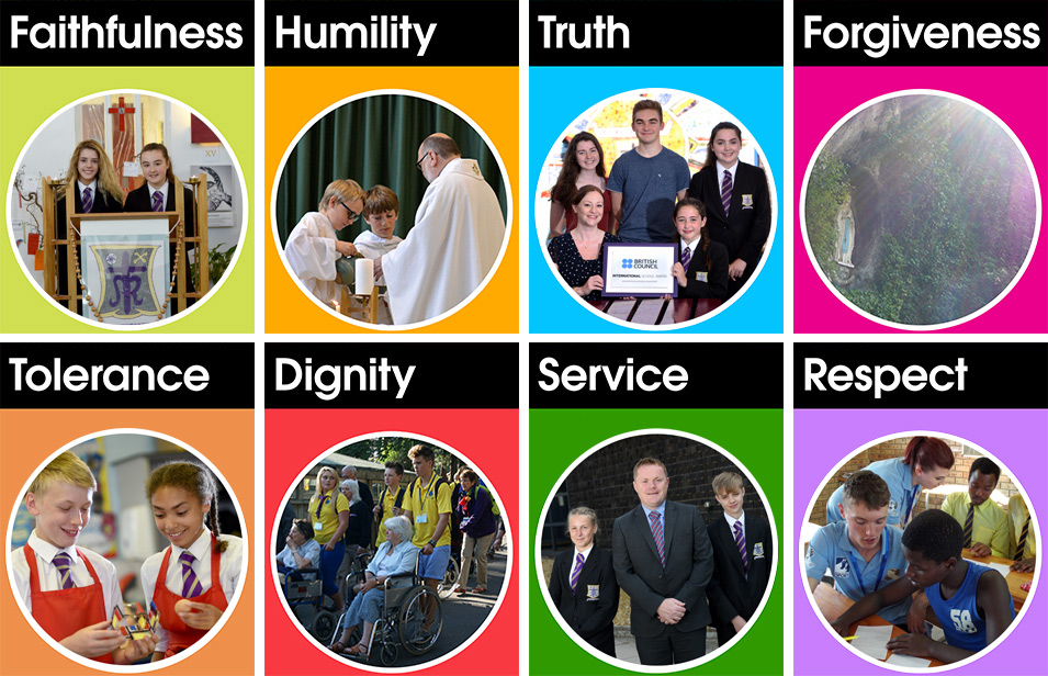 Our Values in two rows of 4 (without the Beatitudes)
