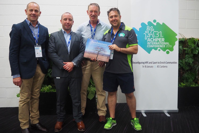 From Left to Right: John Stokes CEO ACHPER, Pierre Comis, Sport Australia, David Geldart, Bambisanani Partnership, Dr Shane Pill, ACPHER President