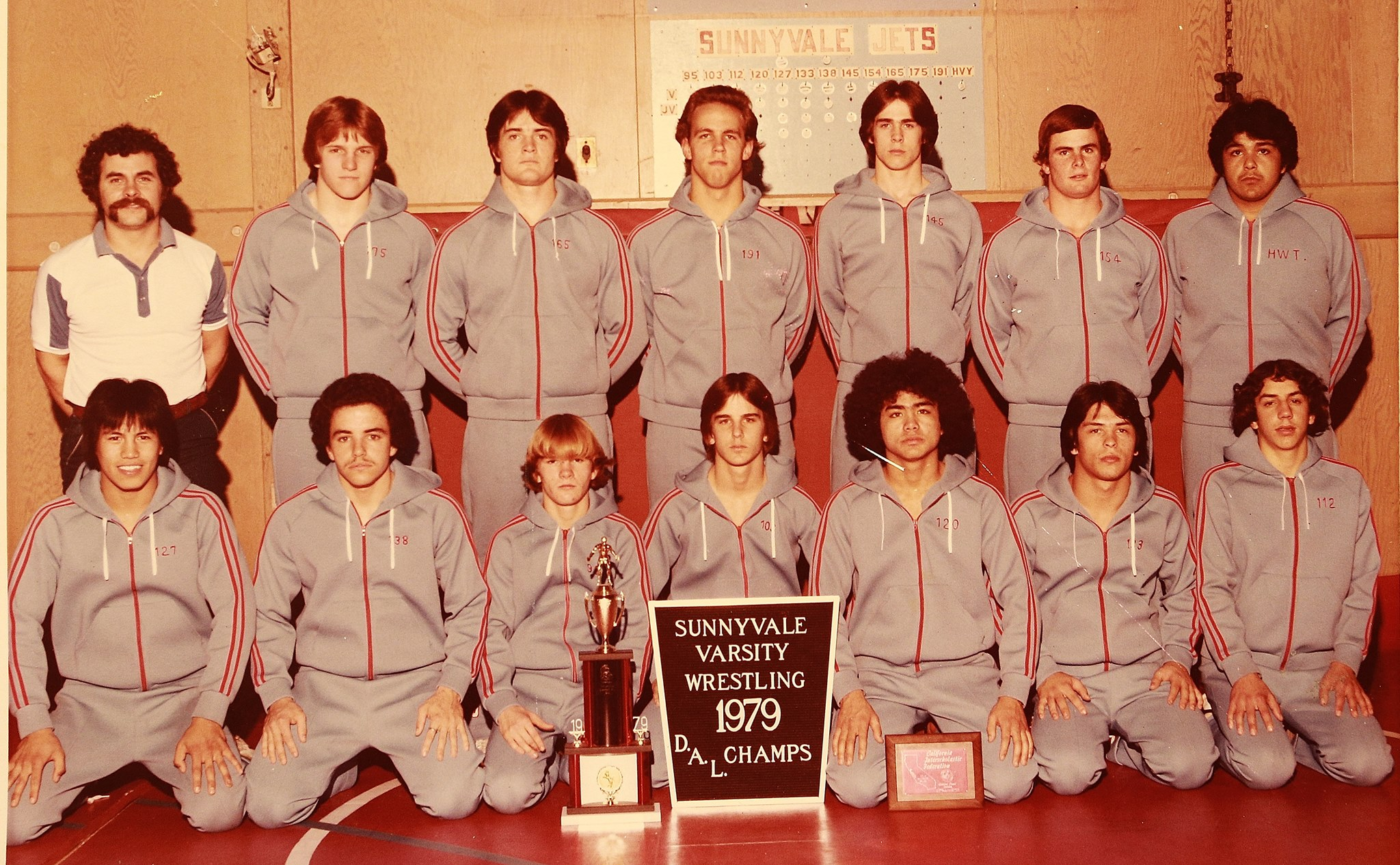 Sunnyvale High School Wrestling - De Anza League Champions in 1979 under Coach Steve McKeown. Notice long time Fremont Coach Vince Baza in the bottom left hand corner.