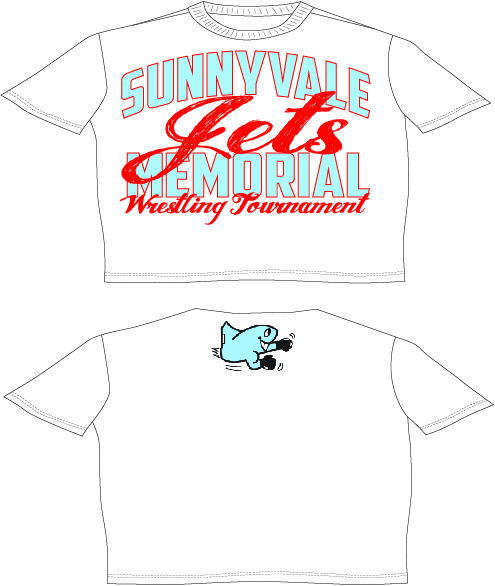 The 2015 SHS Jet Memorial Tee is on sale for a limited time. All proceeds go directly to support wrestling and wrestlers in Sunnyvale.