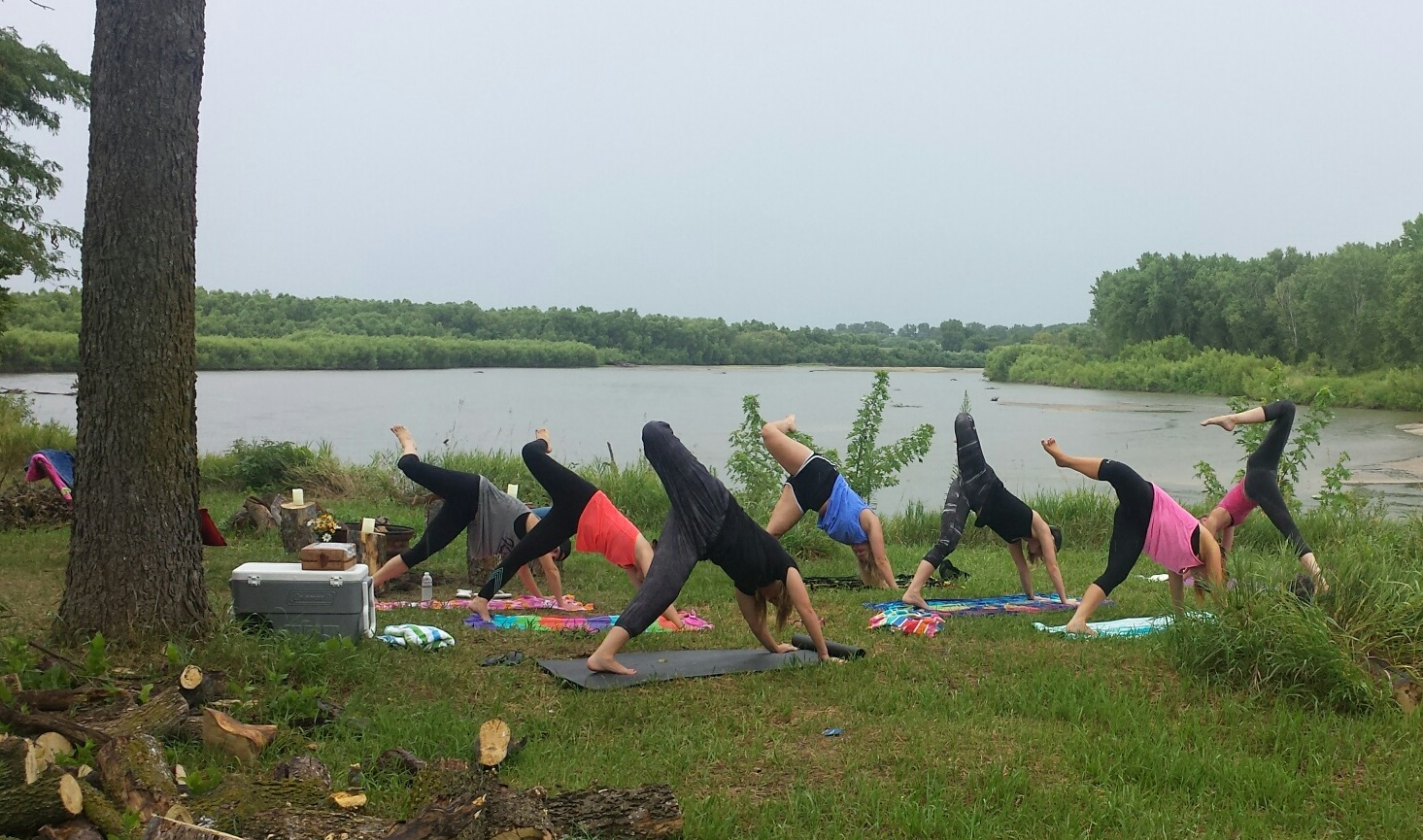 Morning Yoga Class before the Bachelorette River Float
