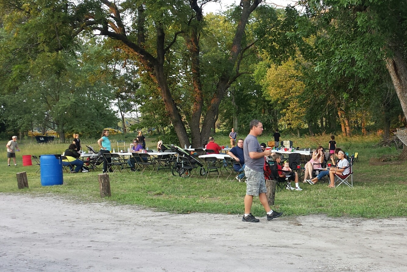 Employees enjoying a company picnic