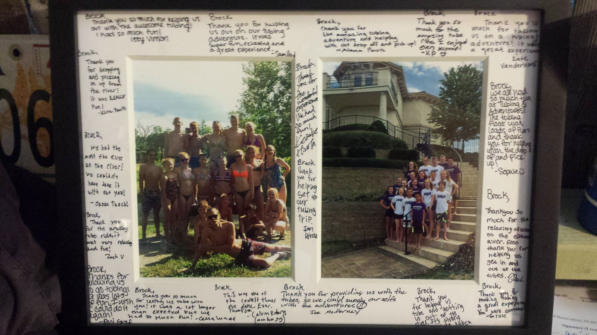 A swim team from Wisconsin came to Omaha for the Olympic Swim Trials, and saw T&A was one of the top 10 fun things to do in Omaha. After the float, they presented us with this picture as a thank you.