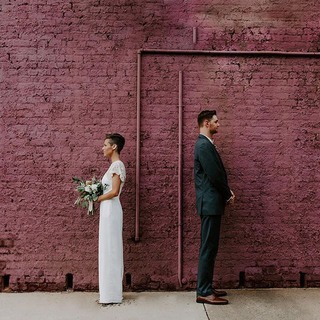 Rosie + Drew + the most amazing purple (pink? idk) wall from yesterday's wedding. 💜💞