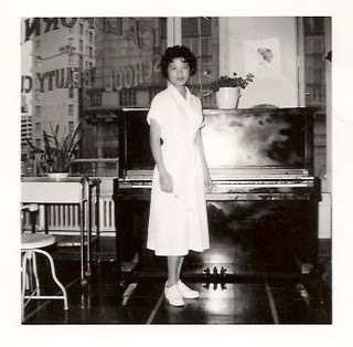 Joann's mother 陳玉簫 (Yook Siu, aka Marion) at California Beauty School on Market Street in San Francisco.