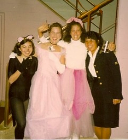 With other undergrads, Halloween 1988.